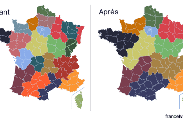 La carte des 22 puis 12 régions françaises.