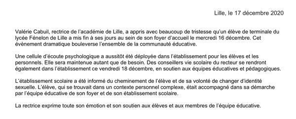 Communiqué du rectorat au lendemain du suicide de Fouad, élève transgenre au lycée Fénelon de Lille.