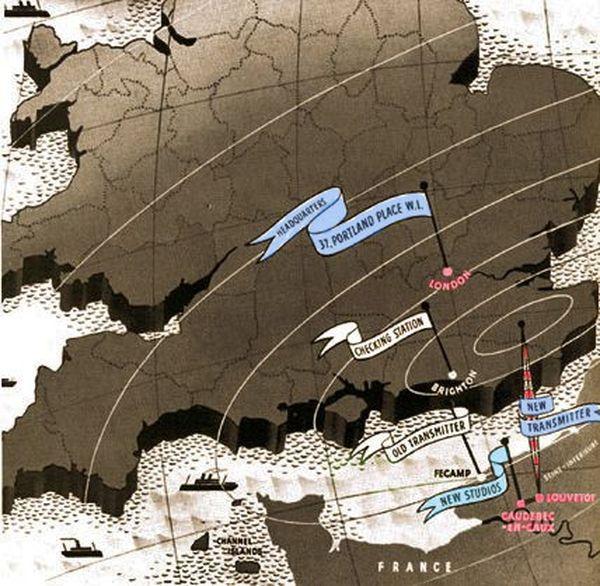 1938 : carte illustrant la diffusion des programmes en anglais de Radio Normandy diffusés de Seine-Maritime (Caudebec-en-Caux et Louvetot) à destination de Londres
