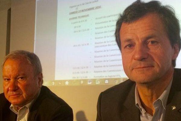Michel Vion, à droite, champion du monde de combiné (1982) et actuel président de la Fédération Française de Ski (FFS).