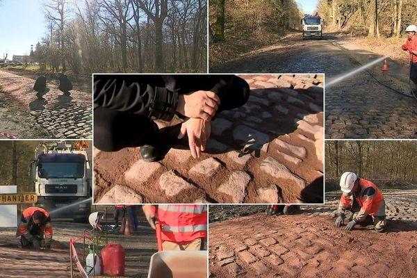 Les joints de terre de la Trouée d'Aremberg sont remplacés par du mortier, composé de chaux et de colorant.