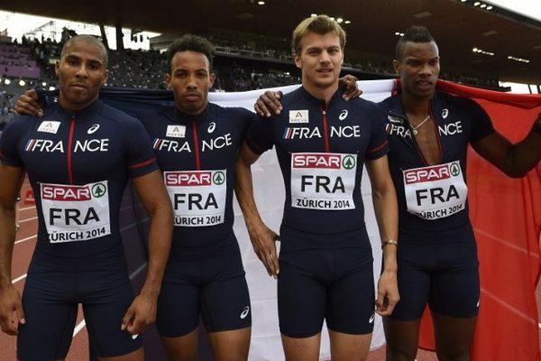 Les athlètes français du relais 4X100m en bronze à Zurich.