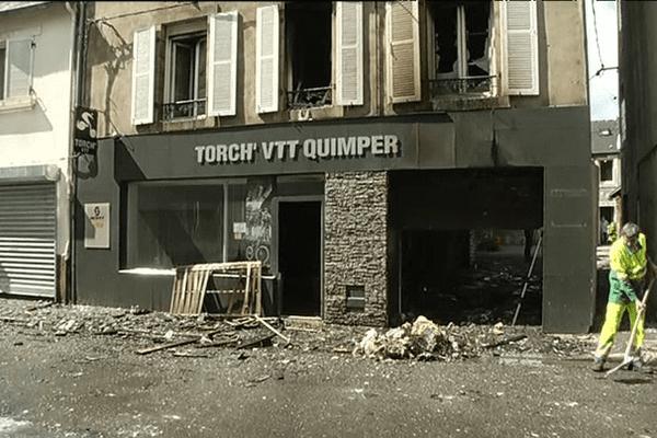 L'immeuble ravagé par un incendie, rue de la providence à Quimper