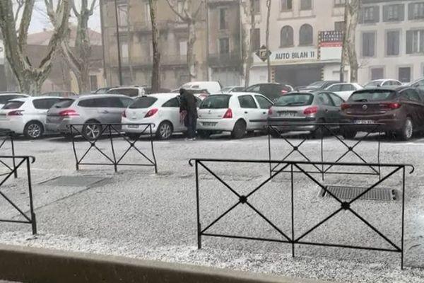 Carcassonne - un orage de grêle sur la préfecture de l'Aude - 2 mars 2020.