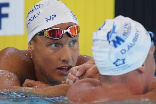 Damien Joly (à gauche) et David Aubry ont signé un doublé montpelliérain lors des Championnats de France de natation en grand bassin, à Saint-Raphaël - 25 mai 2018