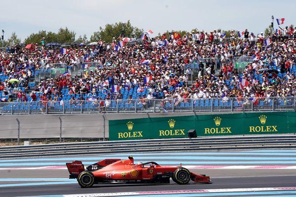 Charles Leclerc sur Ferrari, sur le circuit Paul-Ricard au Castellet lors du Grand Prix de France en 2019.