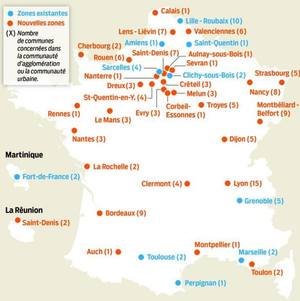 31 nouvelles zones d'emplois francs (en rouge) sont créées en plus des 10 déjà existantes en France