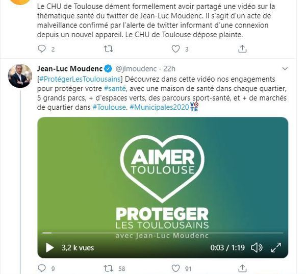 Le tweet de Jean-luc Moudenc relayé sur le compte du @CHUdeToulouse