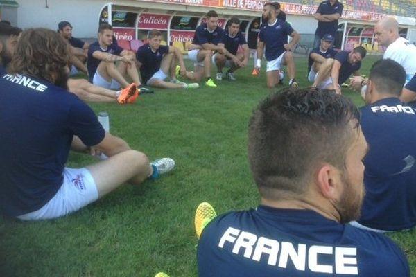Une majorité de joueurs catalans dans cette équipe de France en préparation à Perpignan. Stade Gilbert Brutus, le 8 octobre 2014.