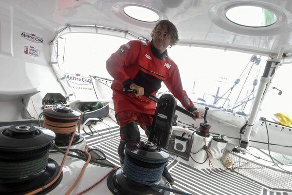 Yannick Bestaven sur son bateau Maître Coq, le 7 octobre 2020.