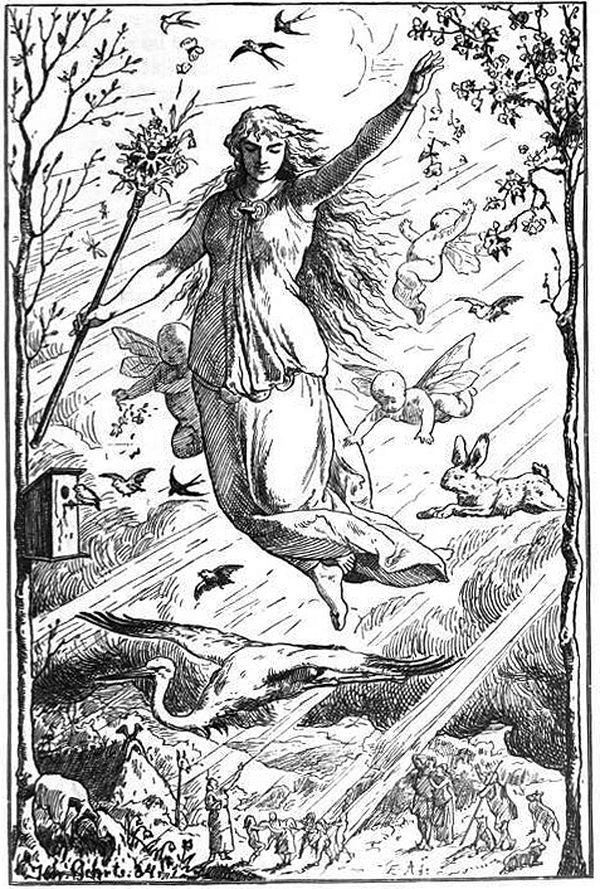 La déesse Eostre et son lièvre.