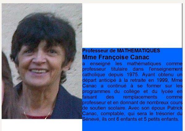 Françoise Canac est professeur de Mathématiques au Cours le Sénevé et ancienne candidate du Front National sur Castres