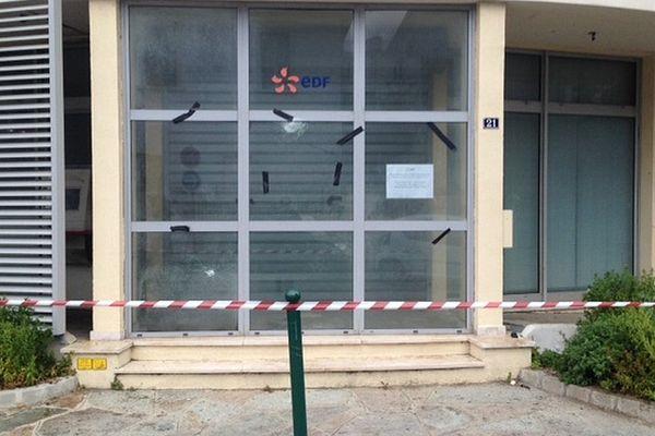Une agence EDF a été visée par un attentat dans la nuit du 4 au 5 avril 2017 à Bastia (Haute-Corse)