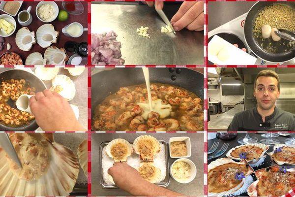 Les étapes de la recette du gratin de coquilles Saint-Jacques