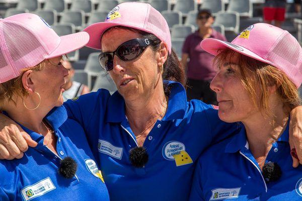 Heureuse la triplette Baudens-Ponsi après sa victoire 13 à 12 face à l'équipe Vierjon