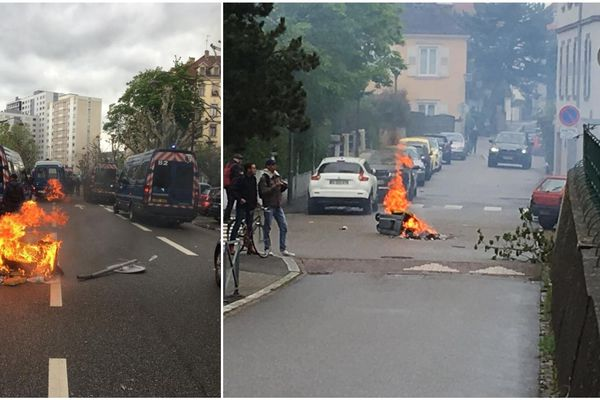 Poubelles incendiées dans le quartier de l'Orangerie