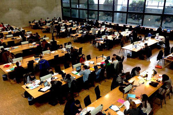 Etudiants dans la salle de bibliothèque de la Faculté de Droit de Limoges