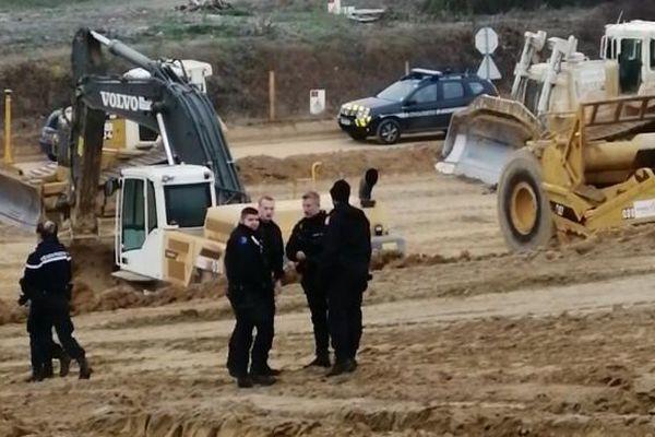 Anti-GCO et gendarmes sur le chantier près de Vendenheim