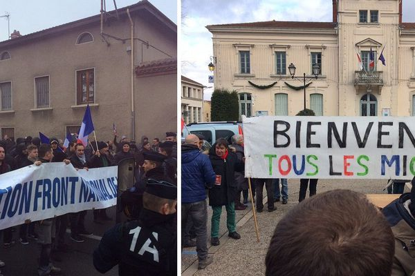 A gauche la mobilisation du FN, à droite celle des pro-migrants.