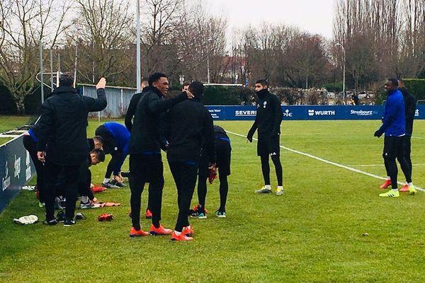 Le joueurs à l'entraînement ce samedi à Strasbourg