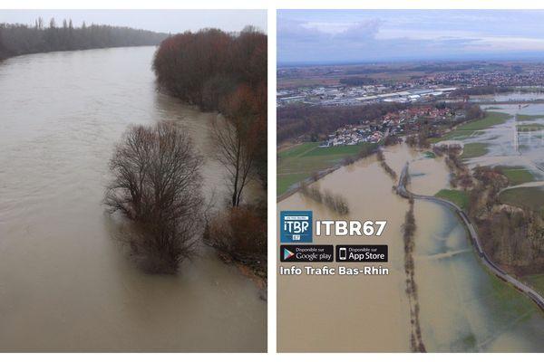 Le Rhin le 4 janvier 2018 (à gauche) et Wingersheim le 21 janvier 2018.