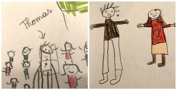 Les dessins de Inès, 7 ans (à gauche) et Jeanne (7 ans) à droite