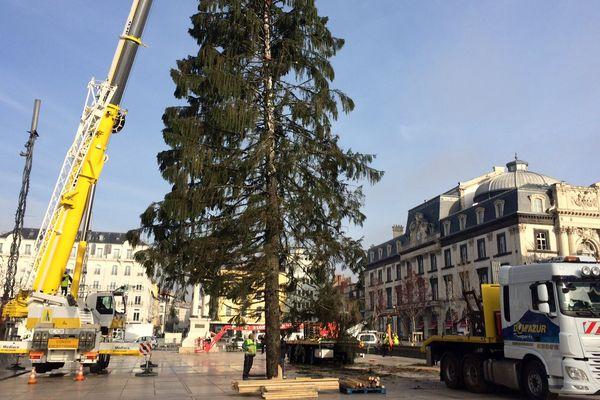Le sapin de Nöel dressé place de Jaude, à Clermont-Ferrand, mesure 30 mètres et pèse 5 tonnes.