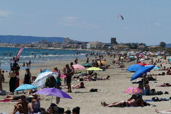La plage du Grand Travers, entre la Grande Motte et Carnon, dans l'Hérault, le 20 juin 2020.