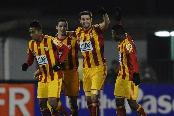 La joie des Lensois après leur victoire face au Stade Bordelais au tour précédent.
