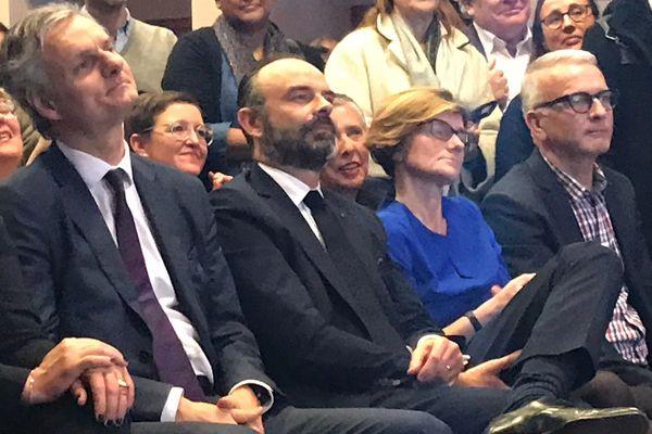 Edouard Philippe, à côté de l'actuel maire du Havre Jean-Baptiste Gastinne lors du lancement de campagne du premier ministre à la salle François I