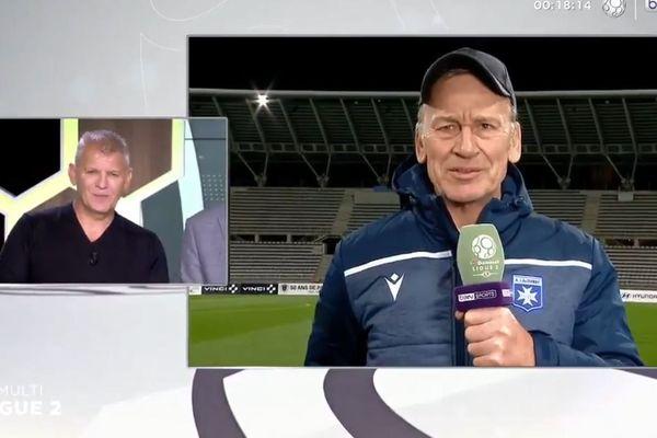 """Passé de Brest à Auxerre en 2019, Jean-Marc Furlan encourage Patrice Garande . """"Faut pas croire mais on s'aime bien aussi entre coach"""", plaisante en retour, sur le plateau, Patrice Garande."""