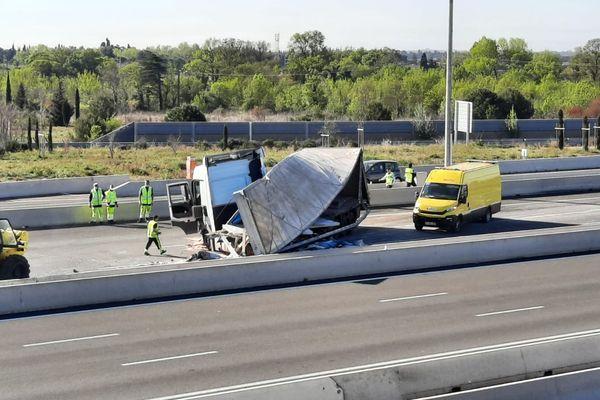 Un accident de camion sur l'A9 a interrompu la circulation à hauteur de Gallargues