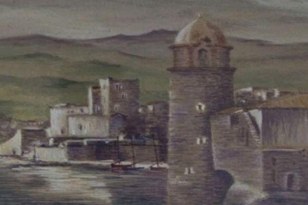 Elne (Pyrénées-Orientales) - une fausse toile d'Etienne Terrus - avril 2018.
