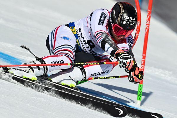 Le skieur français Mathieu Faivre sur le géant de Cortina d'Ampezzo (Italie) le 19 février 2021.
