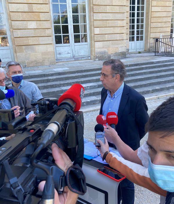 Le maire de Bordeaux Pierre Hurmic a tenu une conférence de presse  au lendemain de l'annonce de King street. 23/04/21