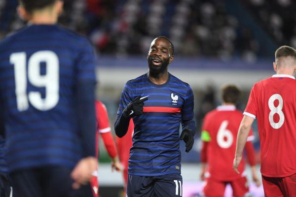 Jonathan Ikoné, avec le maillot de l'équipe de France Espoirs contre le Liechstenstein, le 8 octobre 2020.