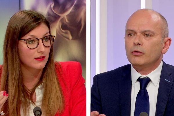 Marine Caron et Jean-François Bures lors du grand débat des municipales de Rouen sur France 3 Normandie le 12 mars 2020
