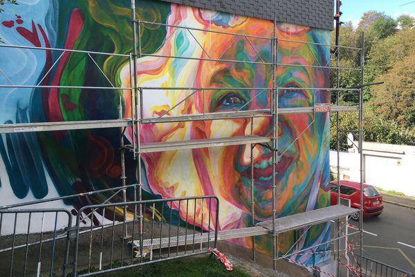 Fresque en cours de réalisation à Saint-Brieuc, le 26 sept 2020
