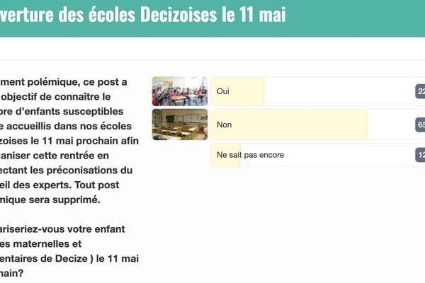 Le résultat du sondage lancé par la municipalité de Decize pour la réouverture des écoles le 11 mai