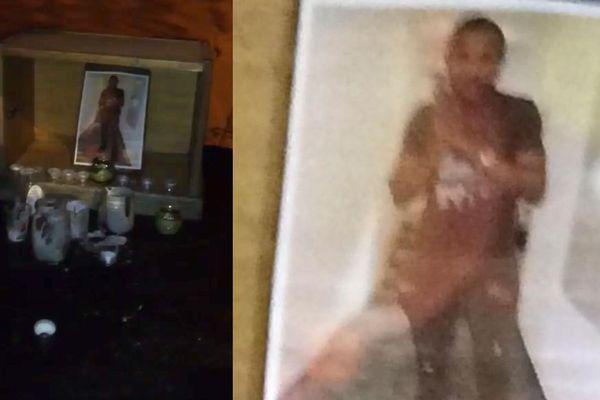 Deux photos de mauvaise qualité de God's Will, prise par un de ses amis pour lui rendre hommage