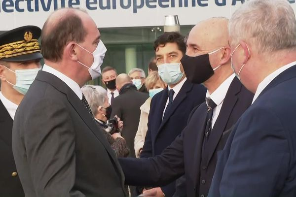 le premier ministre Jean Castex arrive à la Colmar au siège de la CEA