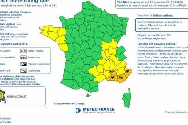 Rhône-Alpes est placé en vigilance- 14/11/2014