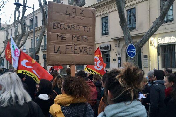 Montpellier - manifestation contre le 49.3 pour faire adopter la loi sur la réforme des retraites - 2 mars 2020.