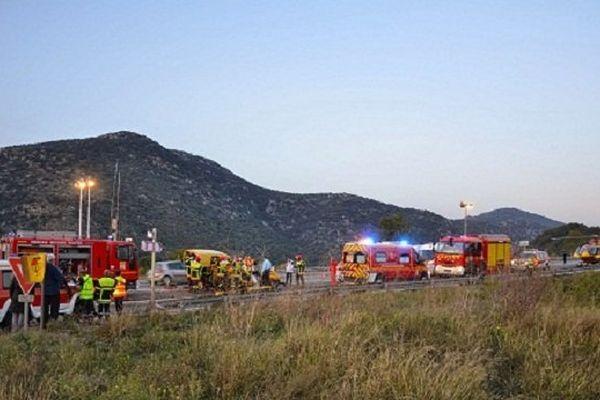 D'importants moyens ont été déployés sur la RN116 à la suite de l'accident mortel. Vinça le 2novembre 2014.