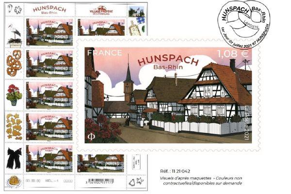 """Un nouveau timbre pour célébrer Hunspach, """"village préféré des Français"""" de l'année 2020."""