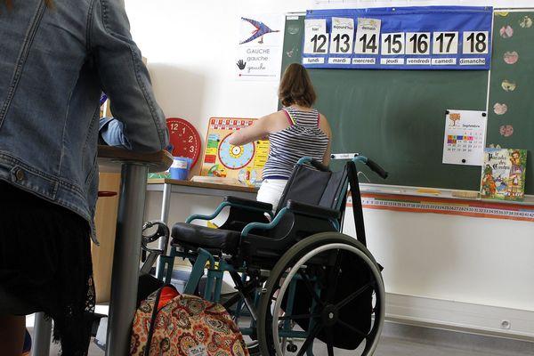 Une classe aménagée pour des enfants malades ou handicapés a l'institut saint Pierre de Palavas, à Palavas-les-Flots, dans l'Hérault. / septembre 2016.