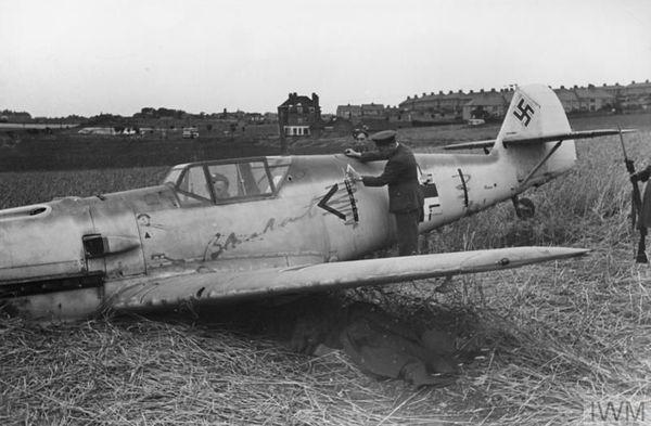 Le Messerschmitt Bf109 de Wernier Bartels à Northdown, près de Margate, le 24 juillet 1940.