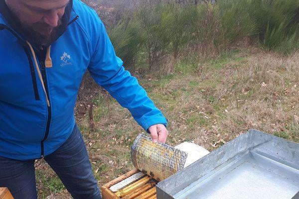 Gabriel Pagès a isolé ses ruches contre le froid.