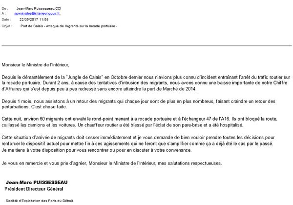 Copie du mail envoyé par Jean-Marc Puissesseau au ministre de l'intérieur.