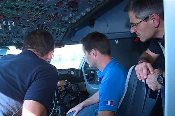 Thomas Pesquet dans le cockpit du Zéro-G lors de sa précédente visite à l'automne 2017.